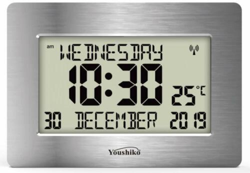 Radio Controlled Large LCD Wall Clock for DEMENTIA & ALZHEIMER SUFFERERS  <br/> ( Offical UK Version ) Auto Set Up with Day Date Month