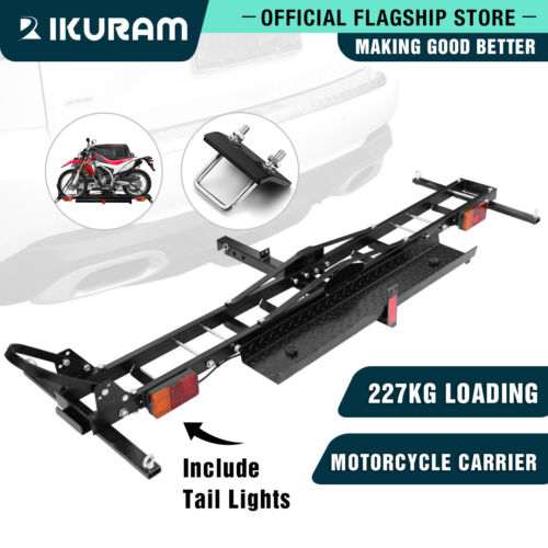 IKURAM 2 Arms Motorcycle Motorbike Carrier Steelrack 2″ Towbar Hitch Mount Ramp  <br/> Heavy Duty Weight up to 27kg With Taillight hole light