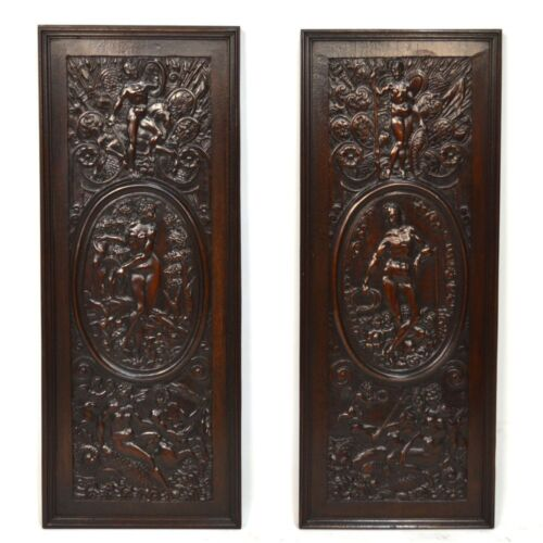 Pair Antique French Carved Walnut Wall Panels Greek Mythological Scenes Athena