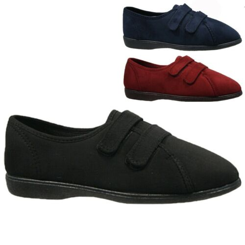 LADIES FREESTEP DUAL WIDE FIT TWIN STRAP UP PLIMSOLLS SLIPPERS SHOES UK 3-8