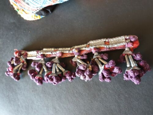 Old Rajasthani Ankle Beaded Silver Bangle (d.) …beautiful collection piece