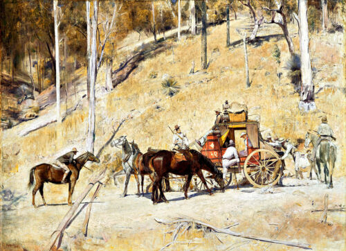 """Canvas Prints   Tom Roberts  Painting  -   """"Bailed Up""""   Framed & Ready to Hang"""