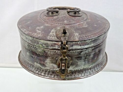 ANTIQUE LARGE INDIAN COPPER BOX all hand made, very decorative, 19th century