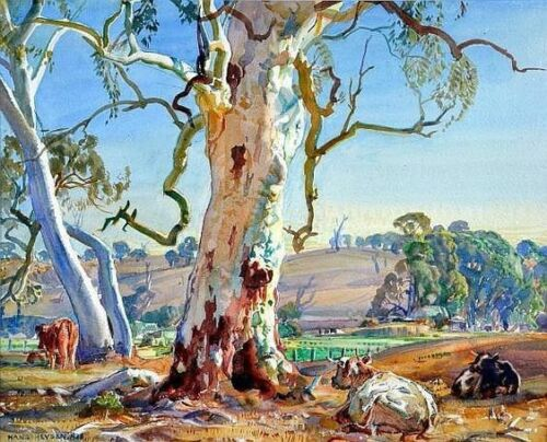 """Canvas Prints Hans Heysen - Painting - """"Under the Gum""""  Framed & Ready to Hang"""