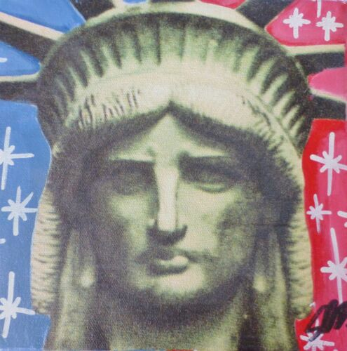 STEVE KAUFMAN STATUE Of LIBERTY HEAD UNIQUE HAND SGNED EMBELLISHED CANVAS