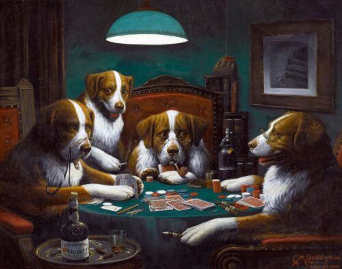 """Canvas Prints """"Dogs Playing Poker"""" - By Cassius Coolidge Framed & Ready to Hang"""