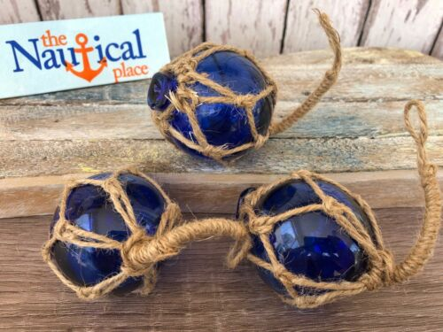"(3) x 2"" Cobalt Blue Glass Fishing Floats - Fish Net Buoy Ball w/ Rope Netting"