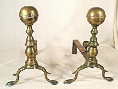 ANTIQUE EARLY 19th CENTURY BALL TOP SNAKE FOOT BRASS ANDIRIONS