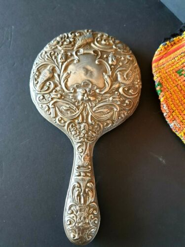Old English Hallmarked Silver Vanity Hand Mirror …beautiful collection & display