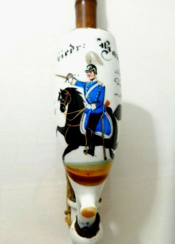 19TH C ANTIQUE 1881 LUDWIGSBURG, GERMANY MILITARY THEME PAINTED PORCELAIN PIPE