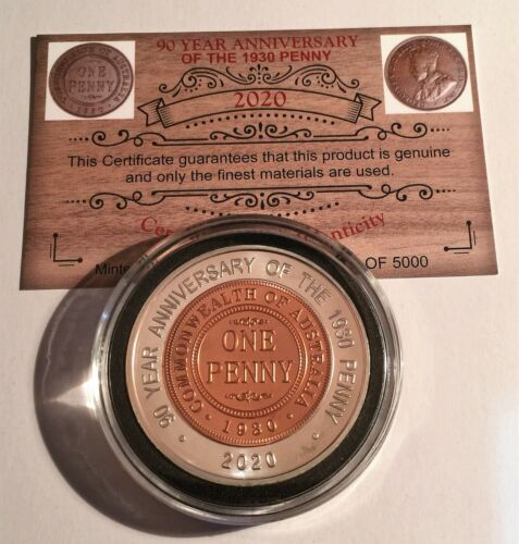"""2020 """"90 Year Anniversary Of The 1930 Penny"""" 43 mm Coin, Limited to 5000, C.O.A"""