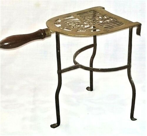 """fireplace Trivet, kettle stand, solid brass & wrought iron, penny foot, 12"""" t"""