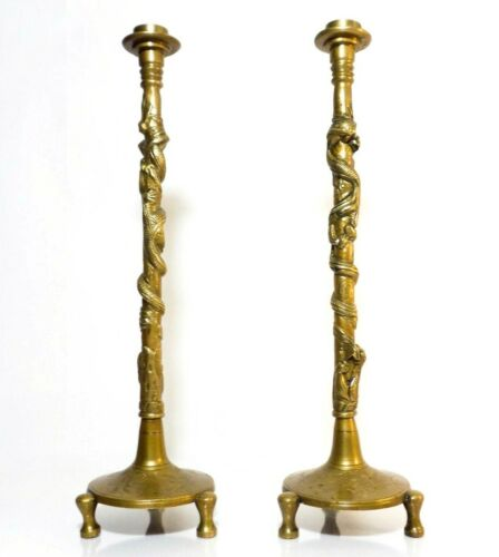 """CHINESE VINT MONUMENTAL 18"""" PAIR BRASS CANDLESTICKS, W/BAS-RELIEF DRAGON FIGURES"""