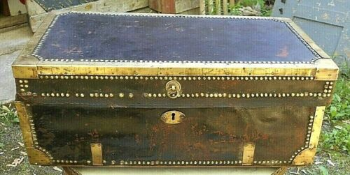 ANTIQUE 19th CENTURY ANGLO-INDIA LEATHER+BRASS BOUND  CAMPHOR WOOD TRUNK