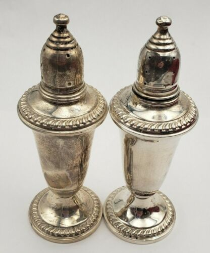 Vintage Sterling Silver Salt & Pepper Shakers w/ Gadroon Edge by Empire #6888