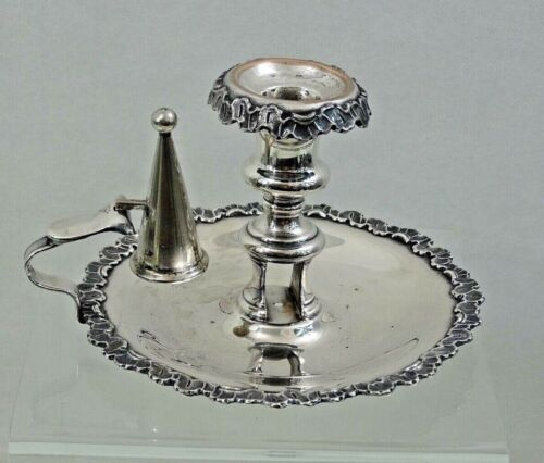 NICE ANTIQUE SILVER PLATED LARGE CHAMBERSTICK CANDLESTICK not sterling