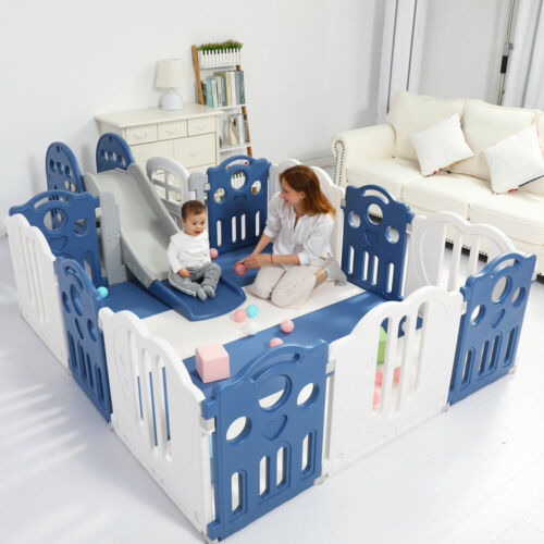 Baby Playpen Kids Activity Centre Safety Play Slide Home Indoor - Multiple Size