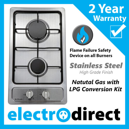 Brilcon 30cm Gas Cooktop Stainless Steel Natural Gas with LPG Conversion Kit <br/> S/Steel Hob Cook Top Stove with Conversion Kit Included