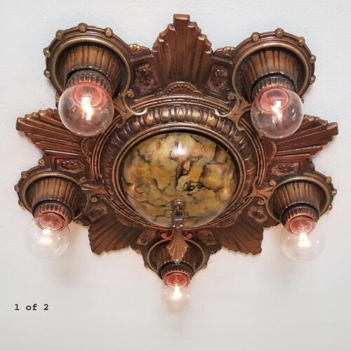 665b Vintage 30s Ceiling Light aRT Nouveau Polychrome Chandelier 1 of 2