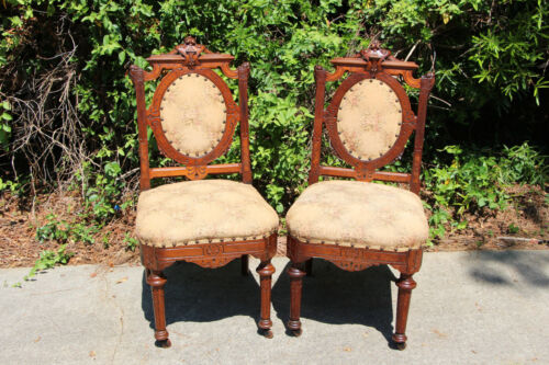 Fancy Pair of Walnut Victorian Renaissance Revival Chairs with Oval Backs Ca1870