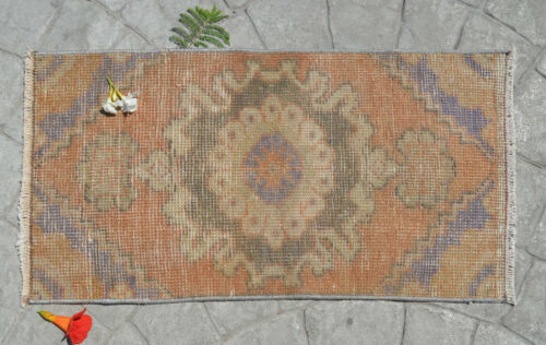 """Vintage Distressed Small Area Rug Hand Knotted Oushak Rug Mat Yastik 1'4"""" x 2'6"""""""