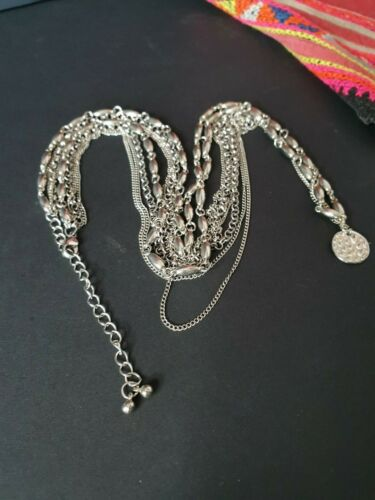 Vintage Asian Multi-Chain Silver Necklace …beautiful accent piece