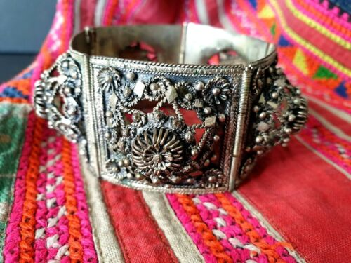 Old Asian Silver Filigree Bracelet …beautiful collection & accent piece