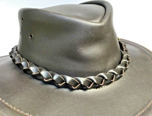 Genuine Brown Leather hat band Plaited with badge Australian made fits all hats