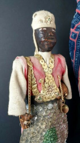 Old Sudanese African Wood & Leather Doll …beautiful collection piece