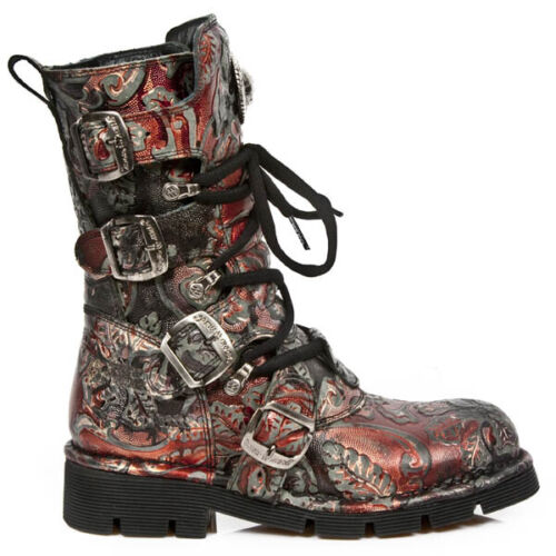 New Rock Flower Comfort-Light Leather Boots - Red - 1473-S42 - Gothic,Goth