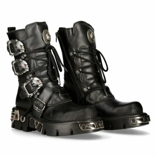 New Rock Flaming Skull Buckle Leather Platform Boots - 391-S1 - Gothic,Goth
