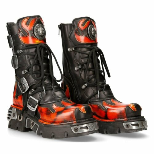 New Rock Red Flame Leather Platform Boots - 591-S1 - Gothic,Goth