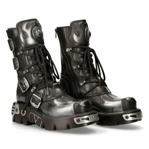 New Rock Silver Flame Leather Platform Boots - 591-S2 - Gothic,Goth