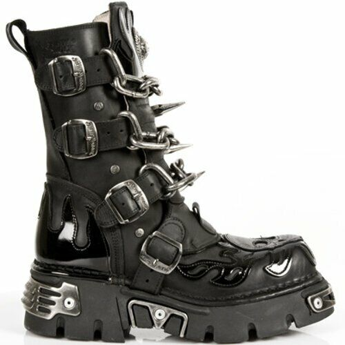 New Rock Spike & Chain Leather Platform Boots - 727-S1 - Gothic,Goth