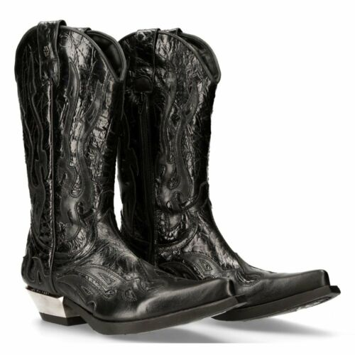 New Rock Black Flame Leather Cowboy Boots - 7921-S1 - Gothic,Goth