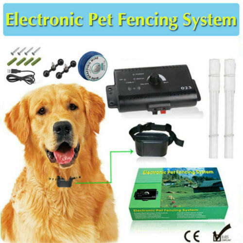 Dog Collar Pet Containment System Electric Shock Boundary Control Fence Training