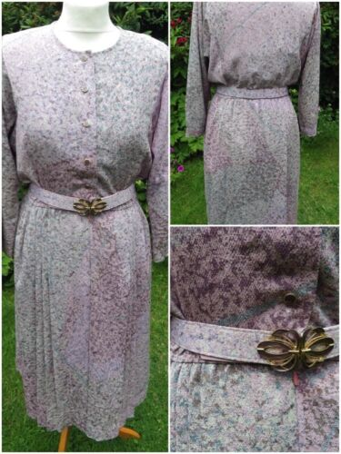 True Vintage ANNINA CLOVER lined belted midi day dress pink purple size 10 S