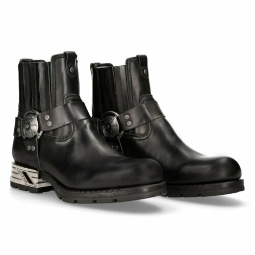 New Rock Motorock Leather Boots - Black - MR007-S1 - Gothic,Goth