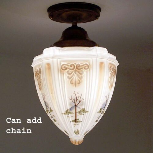 676b Vintage Bird Fowl Ceiling glass Light Lamp Fixture Re-Wired kitchen porch