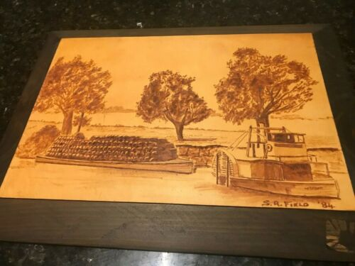 Riverboat.Barge.Murray River Leatherwork on Wood-S A Field.1984.Original.Rare