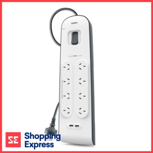 Belkin 8 Way Outlet Surge Protector 2M Power Board 2.4A USB Port