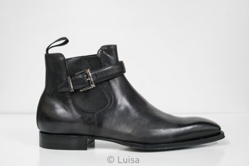 New in Box Cesare Paciotti Men's Black Leather Ankle Boot Tamponato