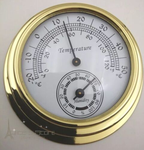 70mm Brass  enclosed thermometer/hygrometer On Special $40
