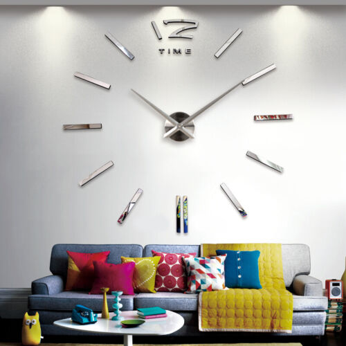 Walplus Wall Sticker Giant Silver Clock with Clock Mechanism Decor Living Room