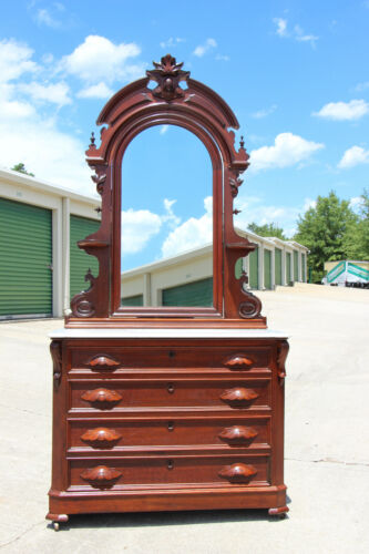 Fancy Walnut Victorian Renaissance Revival Marble Top Dresser w Mirror ~ Ca1870
