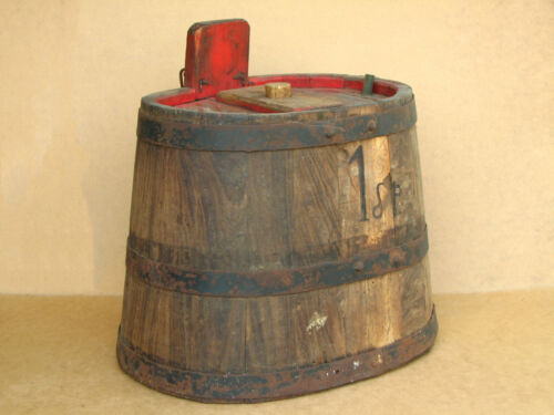 Old Antique Primitive Wooden Wood Barrel Vessel Bucket Pail Marked Early 20th