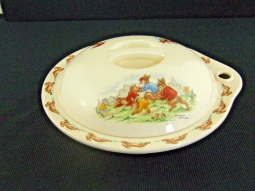 Vintage Royal Doulton Bunnykins Hot Water Plate with Cover Letterbox c 1957