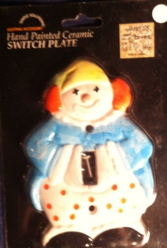 Vintage ceramic hand painted circus clown light switch cover plate