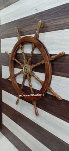 Nautical Wooden Ship Wheel Boat Steering Wall Decor Collectible 48 Inches