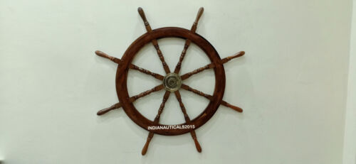"""Nautical Wooden Ship Wheel Boat Steering Wall Decor Collectible 42"""" Large Size"""
